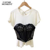 2018 CAVME Casual Cotton O Neck Short Sleeve T shirts with Black Lace with Bow Tops for Women Lady