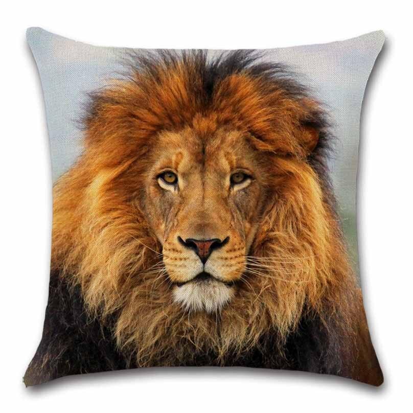 Разноцветный Чехол на подушку с принтом льва декоративный стул для дивана