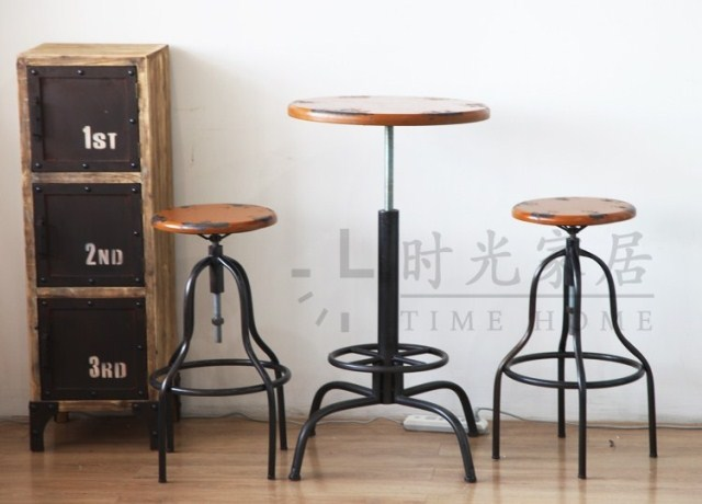 American Village Wind Retro Old Metal Bar Stool Chair Lift Coffee Tables And Chairs Combination