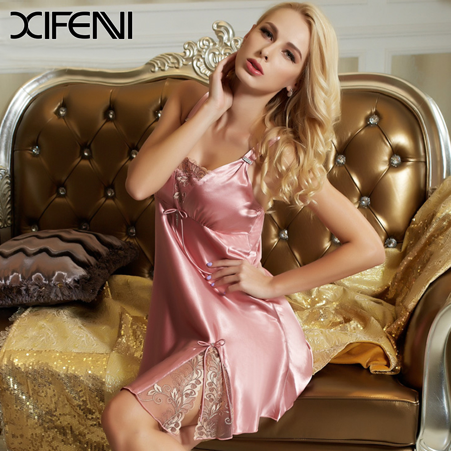 2016 Brand Woman Sexy Embroidery Lace Silk Nightgown Underwear ...