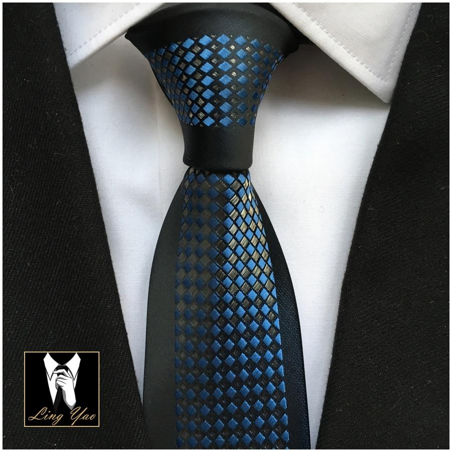 2017 Latest Designers Tie Fashion Slim Skinny Necktie Black Border with Shinny Blue Silver Plaids