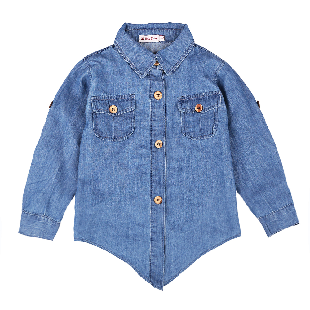 Mom and Kid Matching Denim Shirt and Tutu Skirt Set