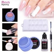 BeautyBigBang Transparent Polygel 4Pcs Extension Nail UV Gel Soak Off Liquid Brush False Tips Poly Set