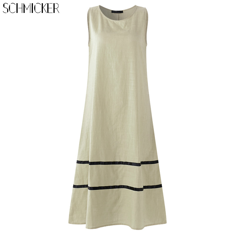 SCHMICKER 2018 Summer Sleeveless Casual Tank Dress Plus Size 5XL Womens Beach Maxi Long Sundress Striped A Line Flowy Vestidos