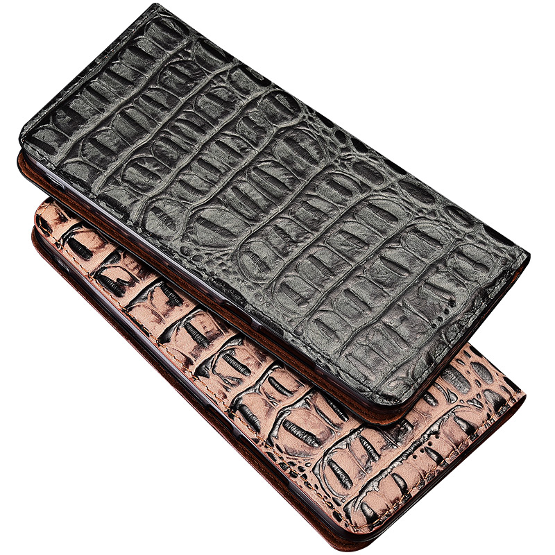 3D Crocodile Genuine Leather Case For Lenovo Z5 Z5s Pro GT Case Stand Flip Magnetic Mobile Phone Cover Bag SN01