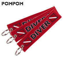 3Pcs/lot POMPOM Emboridery Diver chain keychain for Motorcycles and Cars Special luggage Tags OEM keychain Jewelry sleutelhanger(China)
