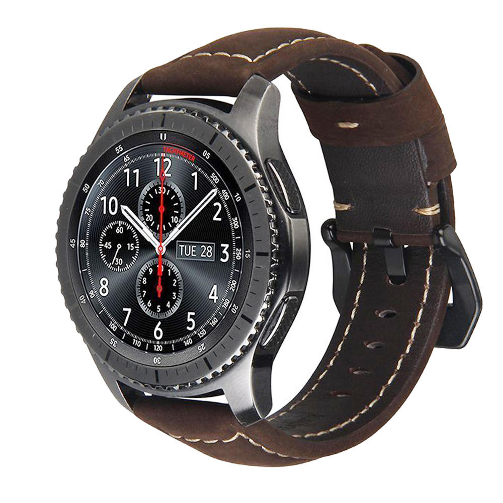 20mm 22mm Genuine Leather Watch Strap Band For Samsung Gear S3 S2 Galaxy 42/46mm Active For Amazfit Stratos 2 2S Bracelet Bands