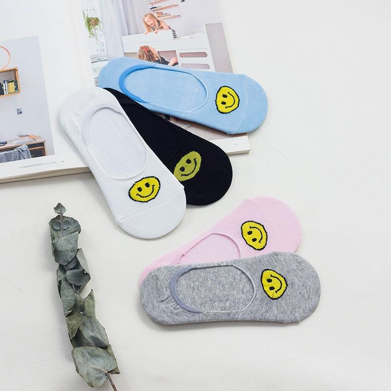 Ladies Trainer Socks Smiley Face Ankle Gym Running Emoji Design Pattern Socks