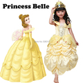 Free shipping Beauty and the beast  Princess Belle Cosplay costume yellow formal dress for Children girls 2017
