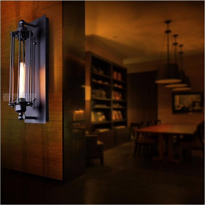 Nordic European bedside lamp creative designers balcony stairs bar cafe American style retro industry Alcatraz iron wall sconce