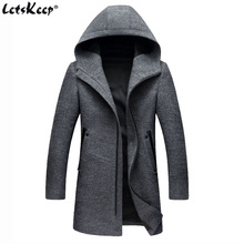 2017 Letskeep Hooded Parka Men Coats Winter Zipper Long trench coat & Blends Peacoat Mens Business Woolen Long Overcoats MA436(China)