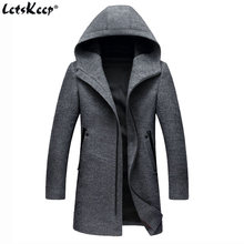 Letskeep Hooded Parka Men Coats Winter Zipper Long trench coat & Blends Peacoat Mens Business Woolen Long Overcoats MA436(China)