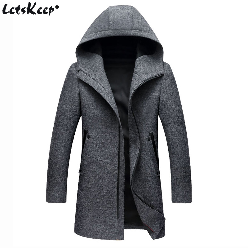 Letskeep Hooded Parka Men Coats Winter Zipper Long trench coat & Blends Peacoat Mens Business Woolen Long Overcoats MA436