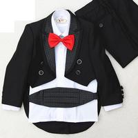 Fashion Dress Boy Dress Costumes For Children Hosted Tuxedo Suit 4 pieces jacket+pants+waist cover+ red bow tie+black bow tie