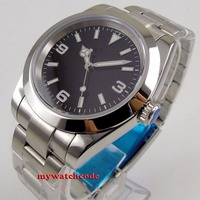 40mm bliger estéril negro dial luminoso sólido caso zafiro vidrio automático hombres reloj B156