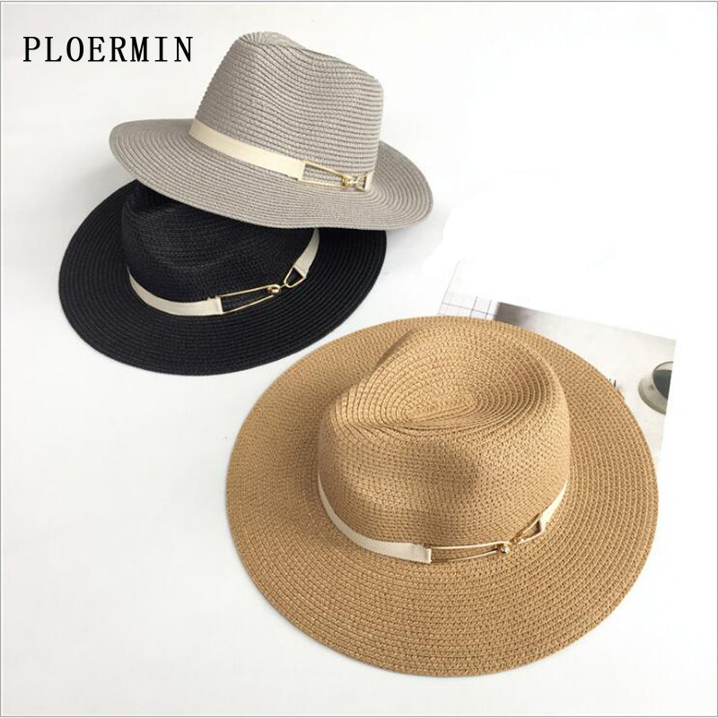 PLOERMIN Summer Straw Fashion Jazz Hat For Women Outdoor Lady Wide Brim Fedora Panama Cap Ribbon Decoration Holiday Beach Hats