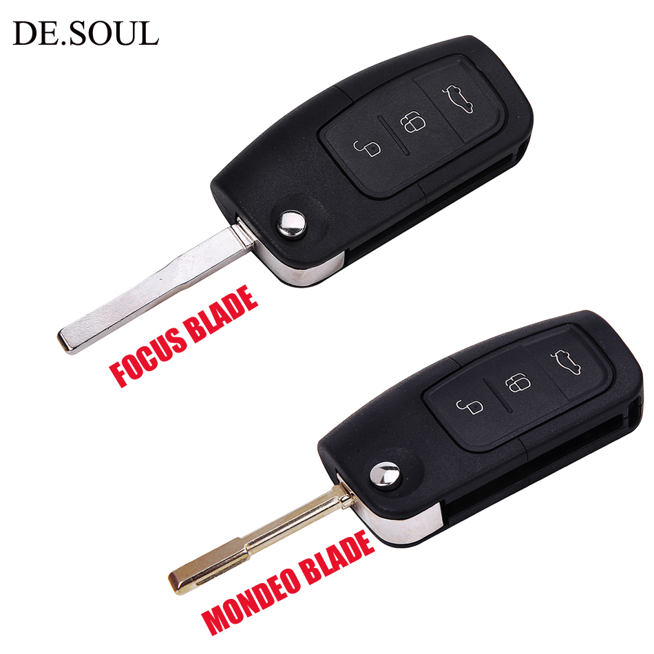 DE.SOUL Flip Key Folding Modified Uncut Car Blank Key Shell Remote Fob Case For Ford Focus Mondeo 2 3 Fiesta Max Ka chave Cover