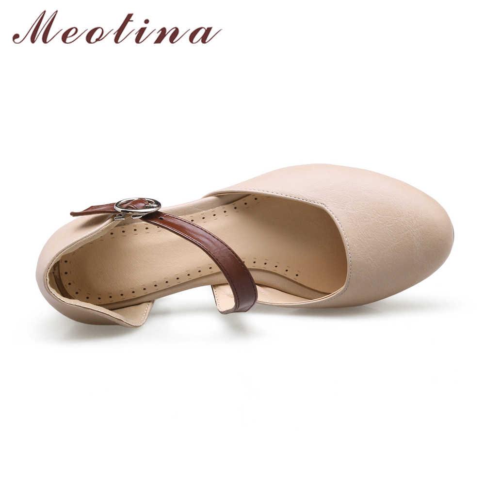 fc40f8f24 ... Meotina/Для женщин Насосы На высоких толстых каблуках женская обувь  Пряжка 2018 осень плюс Размеры ...