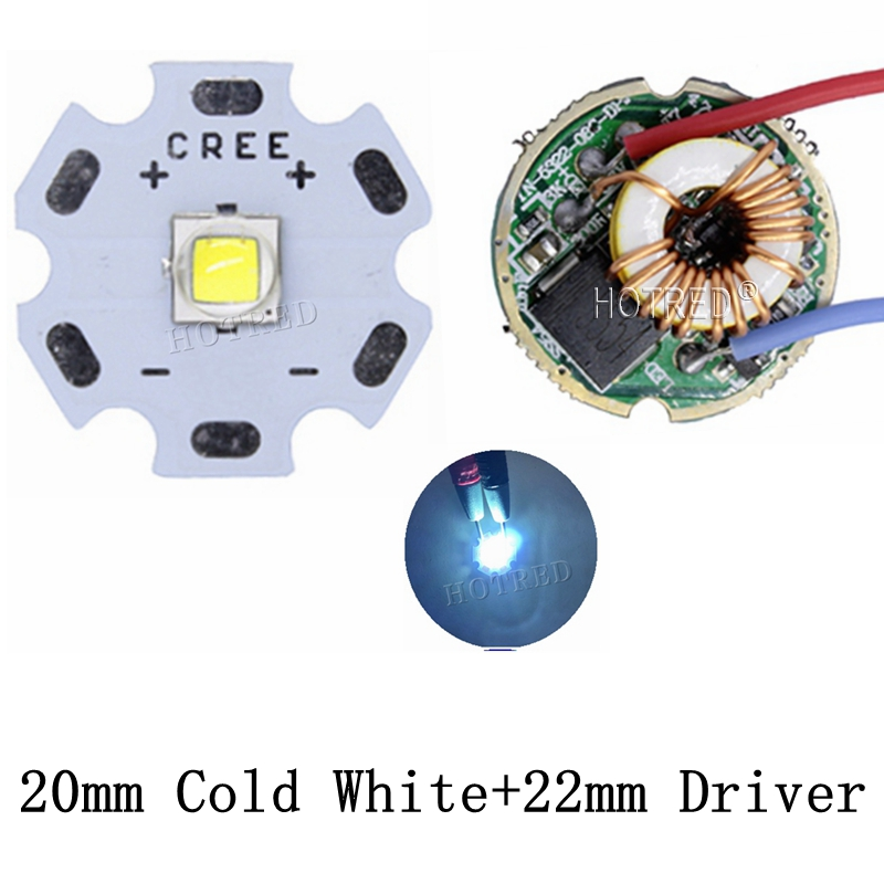 10W Cree XM-L2 T6 XML2 T6 LED Light 20mm PCB White Warm White Neutral White + 22mm 5 Modes 3-12V Driver For DIY Torch Flashlight