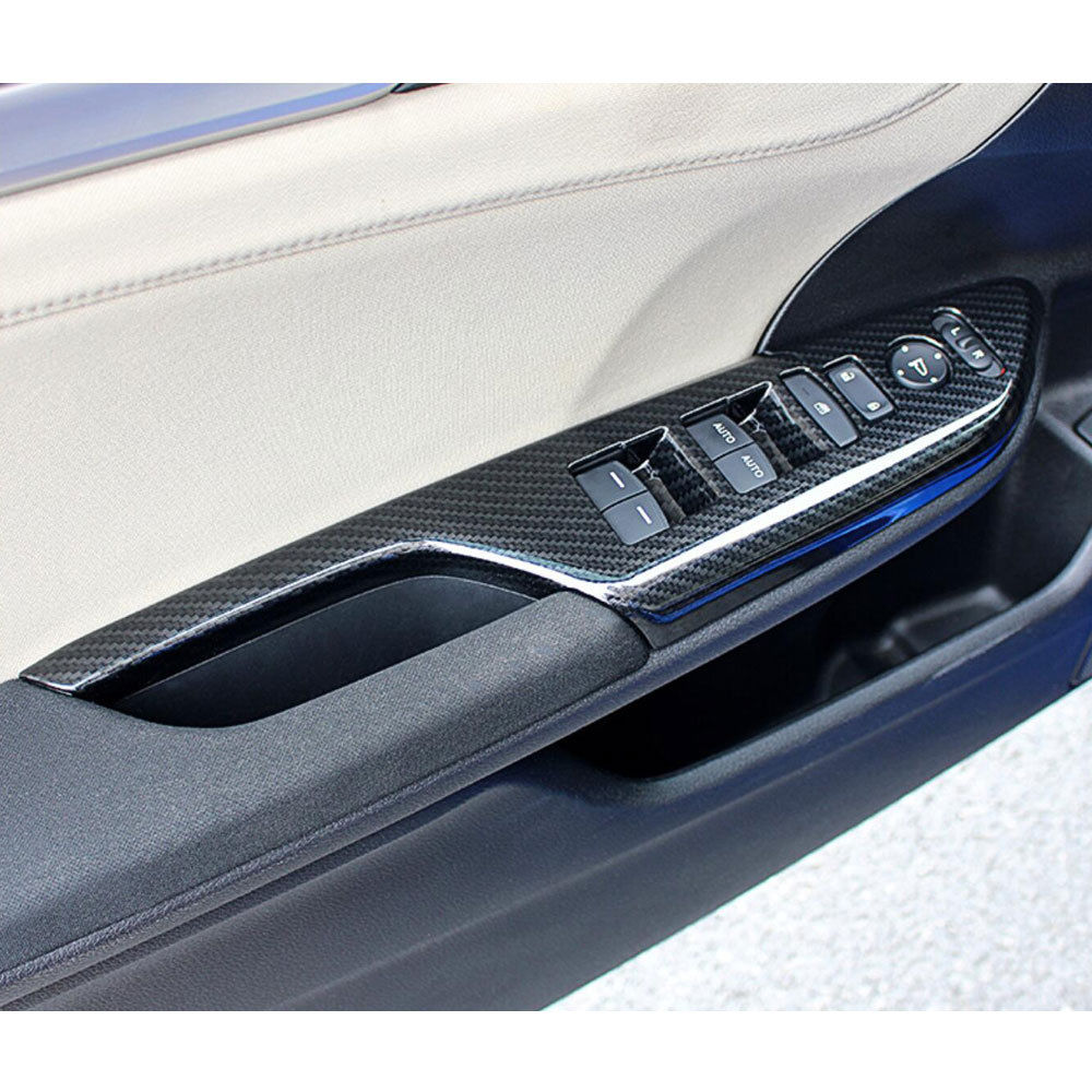 BBQ@FUKA 4x Carbon Fiber Style Car Interior Door Handle Panel Cover Trim Sticker Fit For 2016 2017 Honda Civic