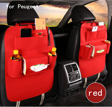 For Peugeot 307 206 308 407 3008 black grey red single Multi plush Pocket Storage Hanger Back Car Seat Cover Organizer Bag
