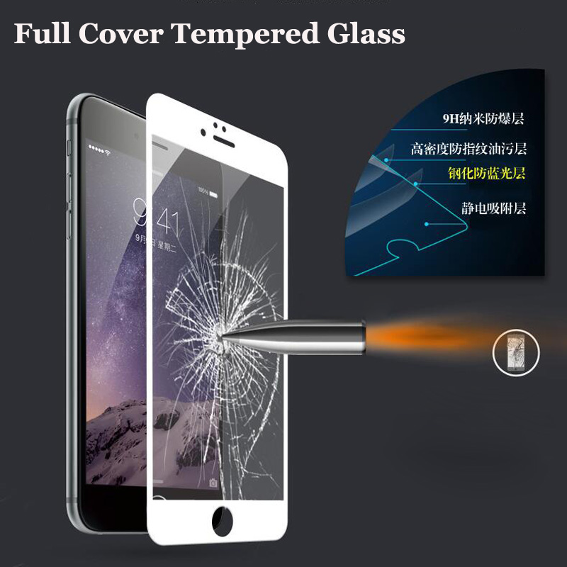 Full Cover Case Colored Tempered Glass for iphone XS Max XSX 10 5 5S 5C SE 7 6 Plus Screen Protector White Black Golden colors