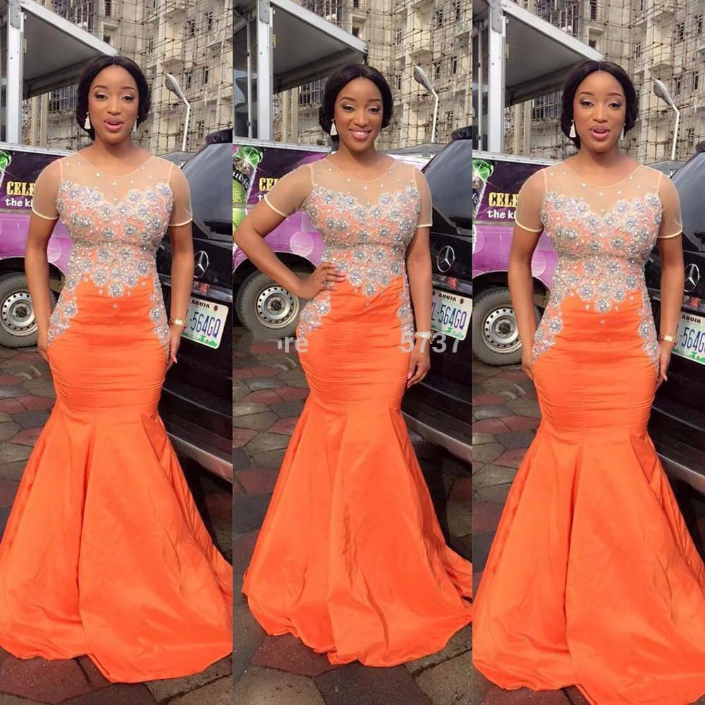 Online get cheap gown orange black aliexpress alibaba group 2016 south africa orange satin prom dresses beaded short sleeves mermaid trumpet black girl formal gowns ombrellifo Image collections