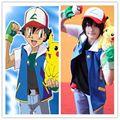 Аниме Покемон Ash Ketchum Тренер Косплей Костюм Рубашка Куртка + перчатки + шляпа