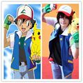 Anime Pokemon Ash Ketchum Trainer Cosplay Costume Shirt Jacket +gloves+hat