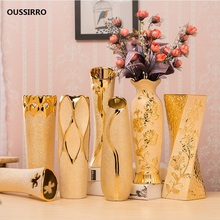 Luxury Europe Gold-plated Ceramic Vase Home Decor Creative Design Porcelain Decorative Flower Vase For Wedding Decoration free shipping high quality abs chrome door handles cover door handle bowl cover for jeep renegade