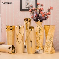 Luxury Europe Gold plated Ceramic Vase Home Decor Creative Design Porcelain Decorative Flower Vase For Wedding Decoration