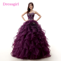 Purple Cheap Quinceanera Dresses 2017 Ball Gown Sweetheart Organza Ruffles Embroidery Beaded Sweet 16 Dresses