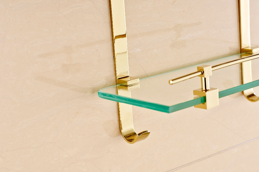 NEW Bathroom Gold Finish Glass Shelf Shower Caddy Storage Dual Tiers ...