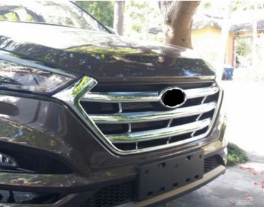 For Hyundai Tucson 2016 2017 ABS Chrome Front Grille Cover Trim accessories car styling 1PC 2015 hyundai tucson abs electroplating taillight frame decorative trim trim car styling