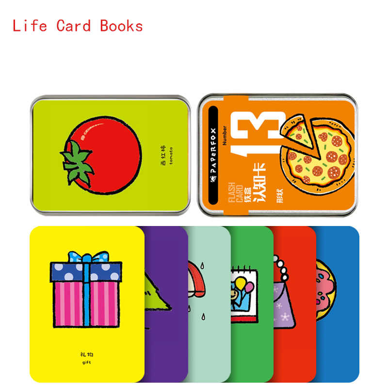 20Pcs Learn English Waterproof Color Cartoon Life Flashcards for Children Educational Game Toys Baby Early Learning Reading Card