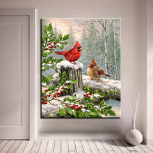 Birds Lover DIY Oil Painting Calligraphy By Numbers Wall Art Canvas Paint Drawing Coloring Northern Cardinal Pictures Home Decor