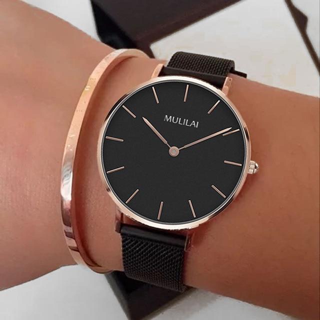 32mm Luxury Brand Ladies Steel Bracelet Quartz Watch fashion Simple Rose gold women dw watch style + Bracelet Ladies Dress Watch