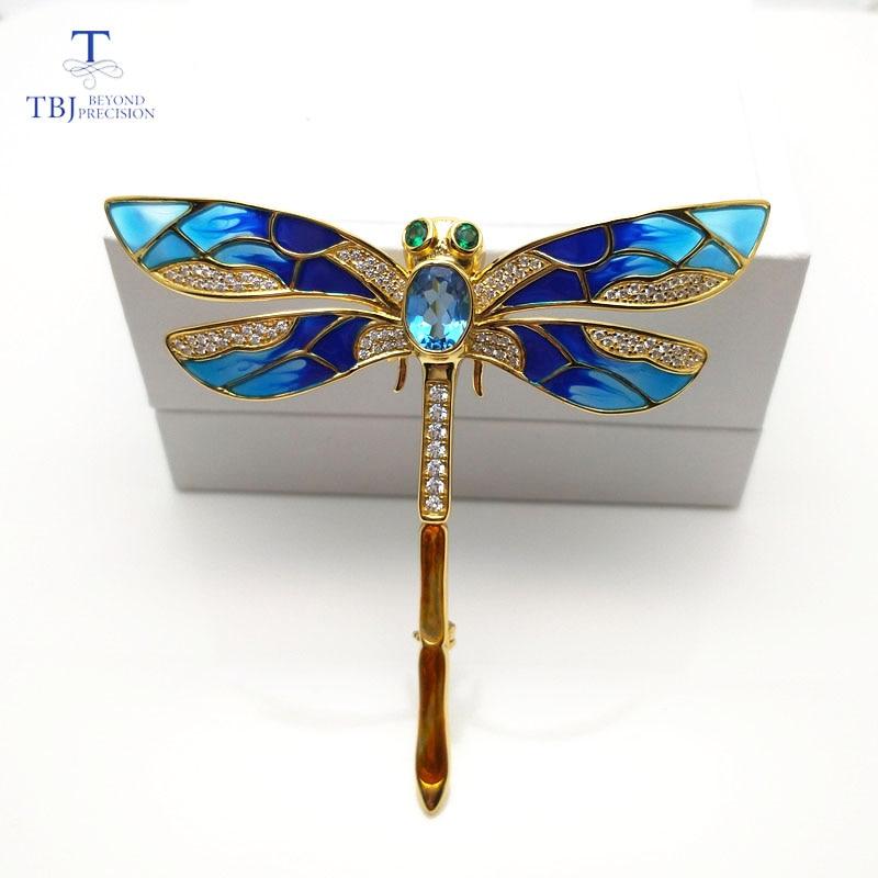 TBJ, broche design libellule bleue avec topaze bleue naturelle en argent sterling 925 couleur or jaune, broche élégante pour les femmes