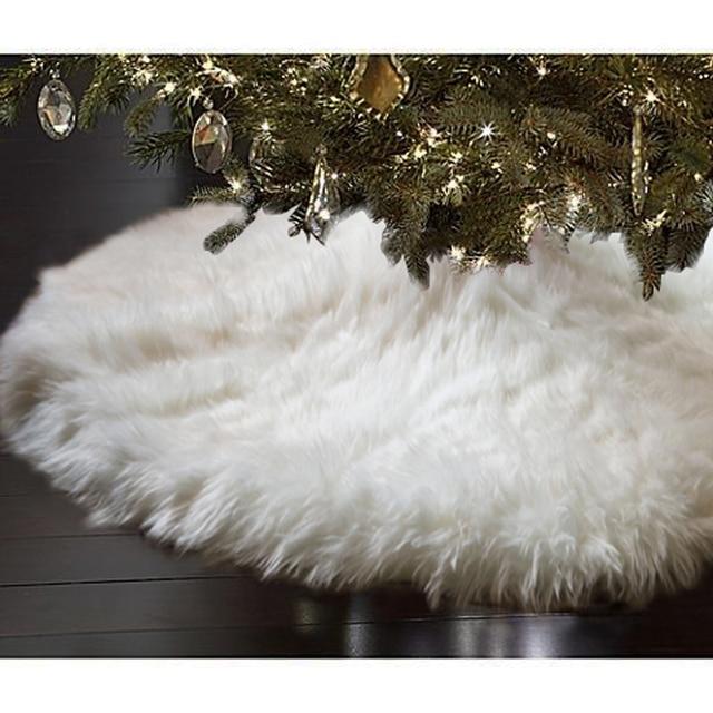 48inch Christmas Tree Skirts Snowy White Faux Fur Xmas Tree