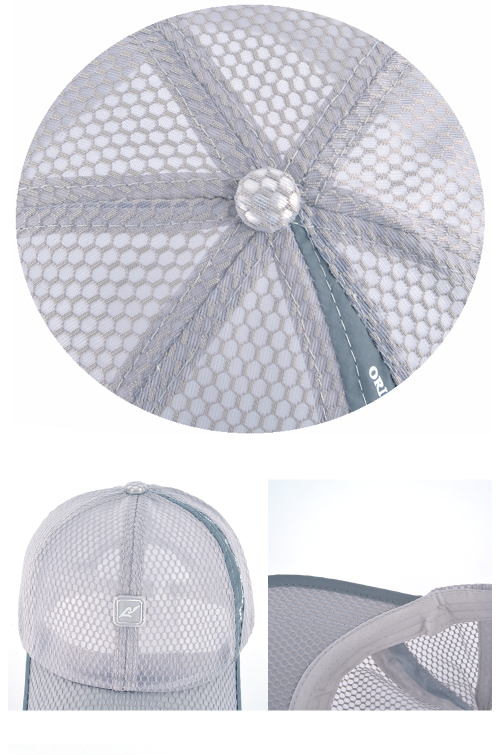 Open Mesh Breathable Baseball Cap - Button Top, Front Cap and Brim Stitching Detail Views