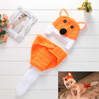 Photography Outfits Newborn Hand Knitting Woolen Yarn Fox Cap Baby Photography Props Hat Baby Acccessories 2pcs