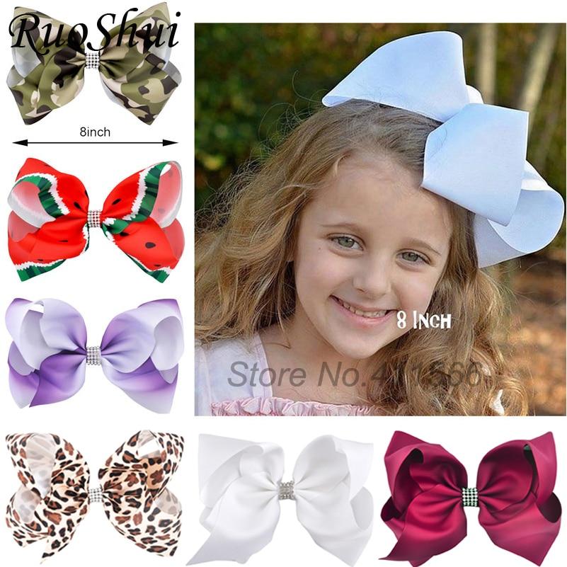 8 Inch Big Large Girls Hair Bow Clips Rhinestone Grosgrain Ribbon Hairgrip Boutique Clip Headwear Bowknot Women Hair Accessories