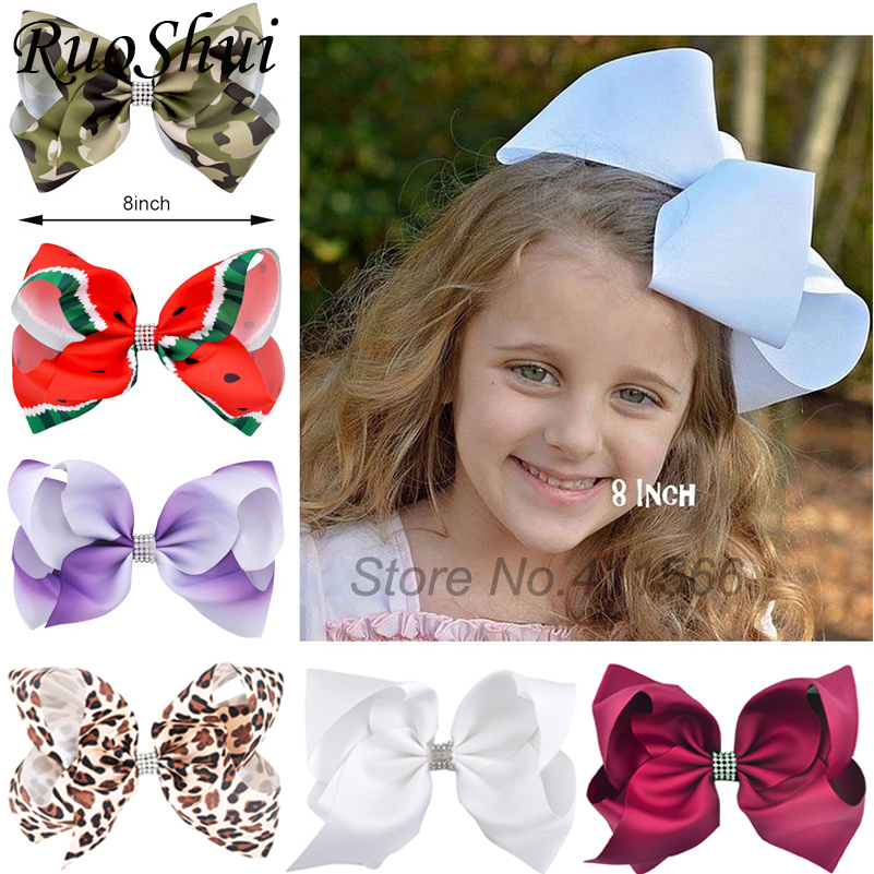 8 Inch Big Large Girls Hair Bow Clips Rhinestone Grosgrain Ribbon Hairgrip Boutique Clip Headwear Bowknot Women Hair Accessories