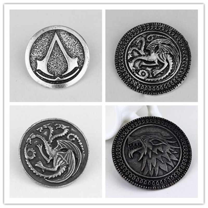 Fashion Movie Game of Thrones Series Hot Sale Song Ice and Fire Power Of The Original Game Metal Badges Dragon Icon Brooch