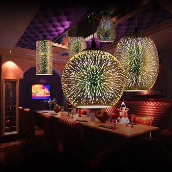 Lámpara Colgante Moderna 3D Colorida Con Cielo Estrellado Nórdico, Pantalla De Cristal Colgante, Lámpara LED E27 Para Cocina, Restaurante, Sala De Estar