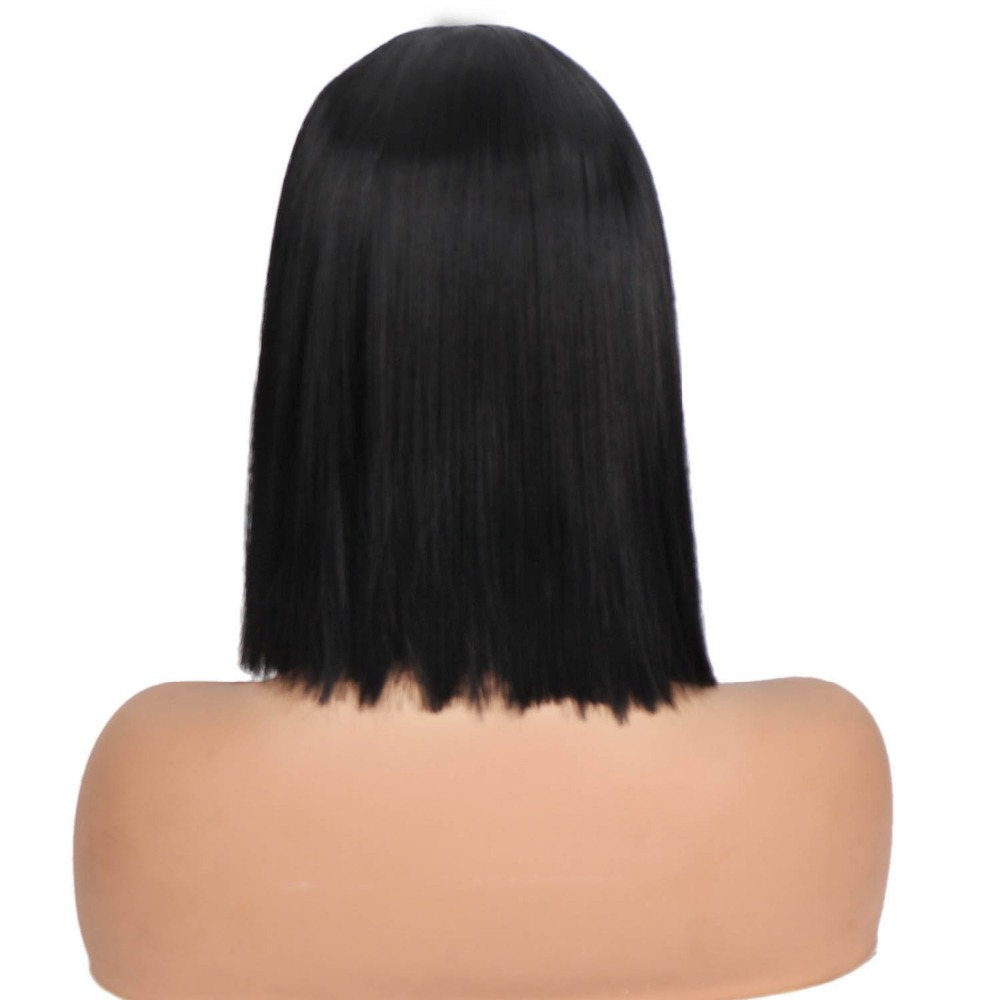 Image 5 - Synthetic Wigs Short Black Bobo Wigs Hair  for Women Hair Style Low Temperature Fiber Straight Cut Hair Wigs for WomenSynthetic None-Lace  Wigs   -