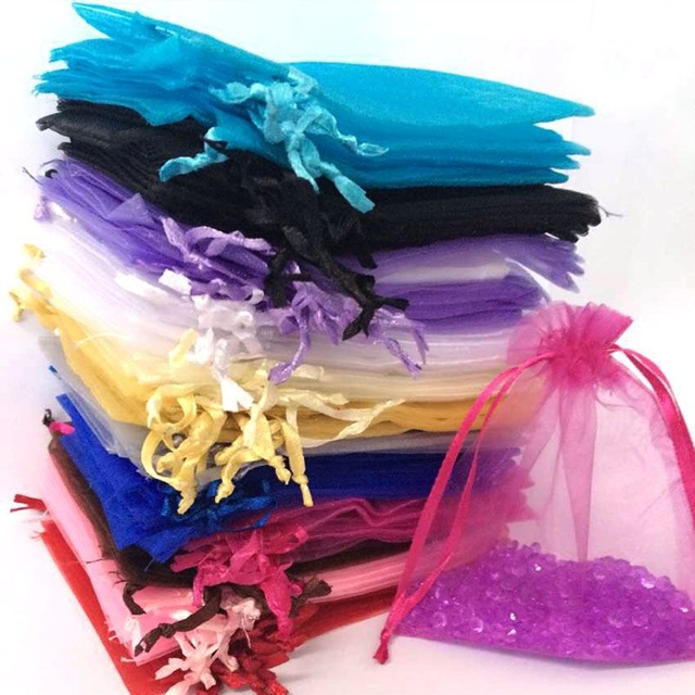 50ps 7×9 10x12cm Wedding Decoration Baby Shower Organza Bags Jewelry Gifts Party Candy Birthday Favors Packaging Goodie