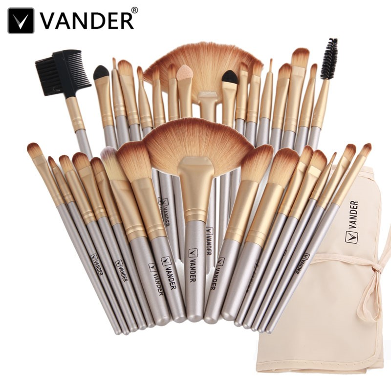 Vander Professional Soft Champagne 32pcs Makeup Brushes Set Beauty Cosmetic Real Make Up Tools Eyeshadow Blush Blending w/Bag 15 pcs professional makeup brushes set power foundation eyeshadow blush blending make up beauty cosmetic tools kits hot