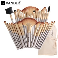 Vander Professional Soft Champagne 32pcs Makeup Brushes Set Beauty Cosmetic Real Make Up Tools Eyeshadow Blush Blending w/Bag
