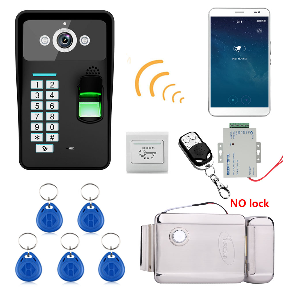 720P Wireless WIFI RFID  Fingerprint Recognition Video Door Phone Doorbell Intercom System  + Electronic Door Lock